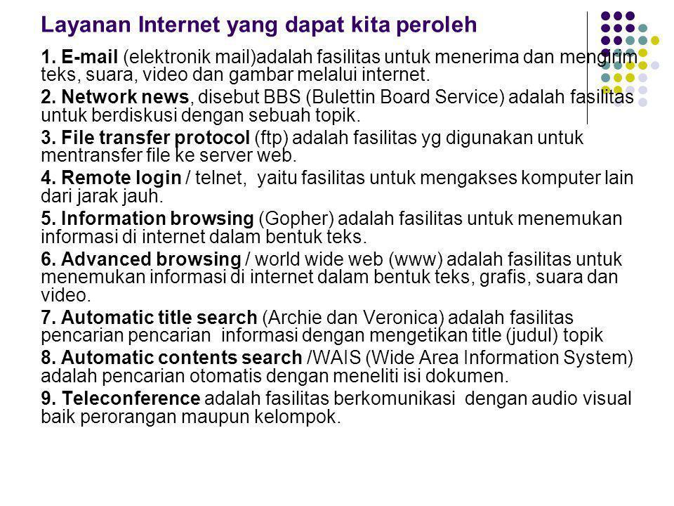Layanan Internet yang dapat kita peroleh 1.