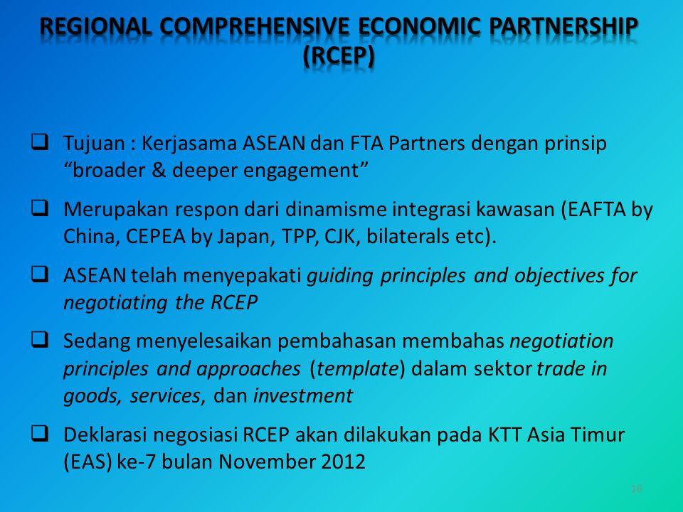 """16  Tujuan : Kerjasama ASEAN dan FTA Partners dengan prinsip """"broader & deeper engagement""""  Merupakan respon dari dinamisme integrasi kawasan (EAFTA"""