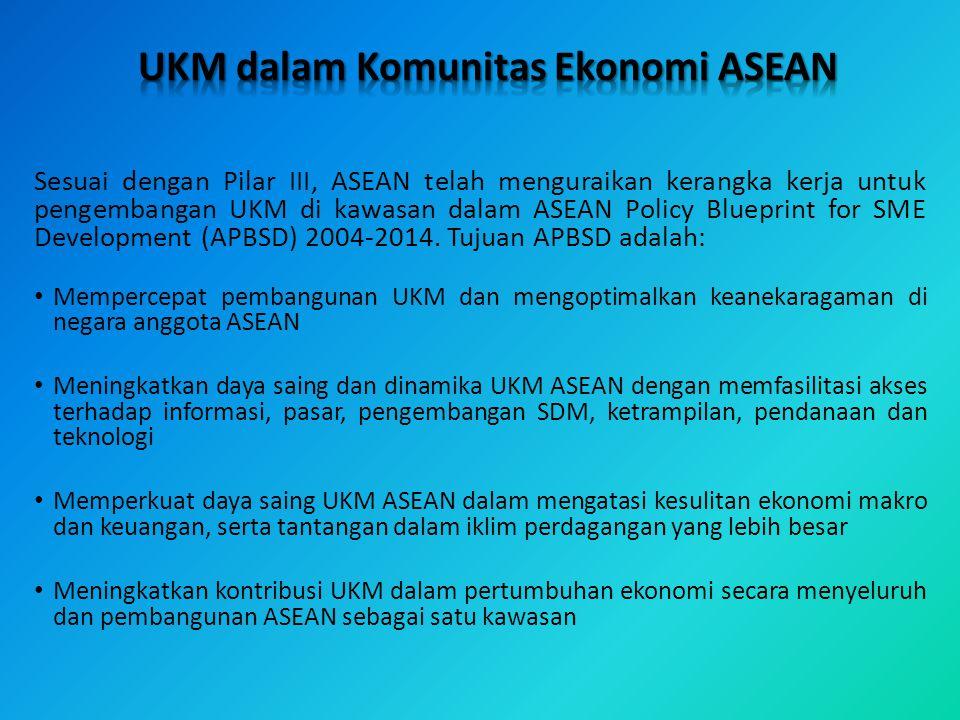 Sesuai dengan Pilar III, ASEAN telah menguraikan kerangka kerja untuk pengembangan UKM di kawasan dalam ASEAN Policy Blueprint for SME Development (AP