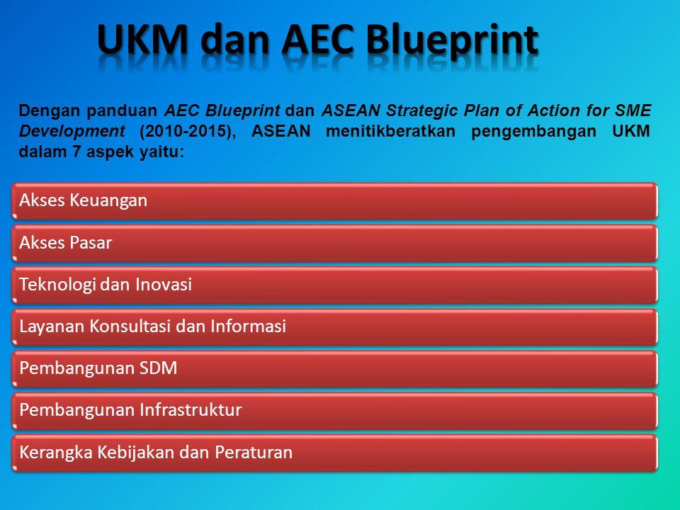 Dengan panduan AEC Blueprint dan ASEAN Strategic Plan of Action for SME Development (2010-2015), ASEAN menitikberatkan pengembangan UKM dalam 7 aspek