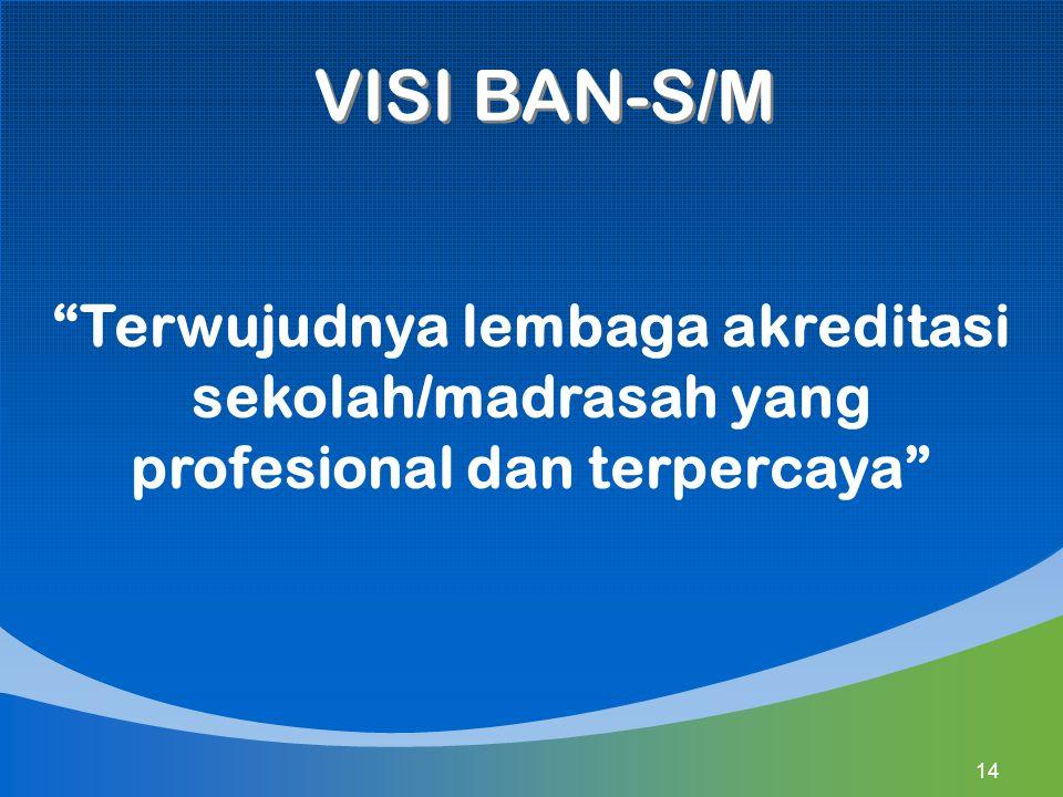 """VISI BAN-S/M """"Terwujudnya lembaga akreditasi sekolah/madrasah yang profesional dan terpercaya"""" 14"""