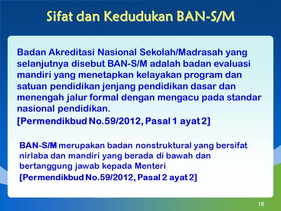 Badan Akreditasi Nasional Sekolah/Madrasah yang selanjutnya disebut BAN-S/M adalah badan evaluasi mandiri yang menetapkan kelayakan program dan satuan