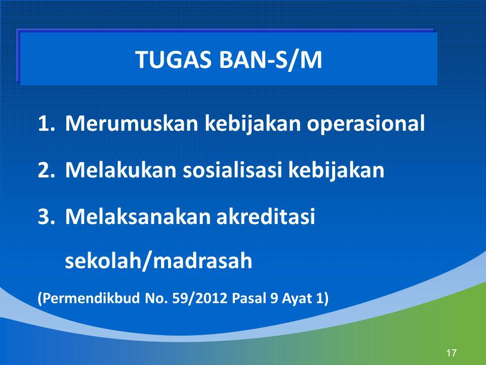 1.Merumuskan kebijakan operasional 2.Melakukan sosialisasi kebijakan 3.Melaksanakan akreditasi sekolah/madrasah (Permendikbud No. 59/2012 Pasal 9 Ayat