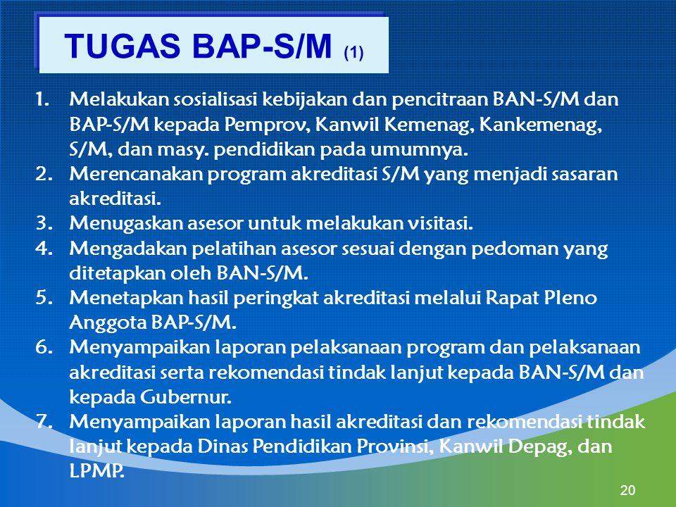 1.Melakukan sosialisasi kebijakan dan pencitraan BAN-S/M dan BAP-S/M kepada Pemprov, Kanwil Kemenag, Kankemenag, S/M, dan masy. pendidikan pada umumny