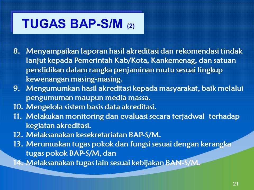 8.Menyampaikan laporan hasil akreditasi dan rekomendasi tindak lanjut kepada Pemerintah Kab/Kota, Kankemenag, dan satuan pendidikan dalam rangka penja