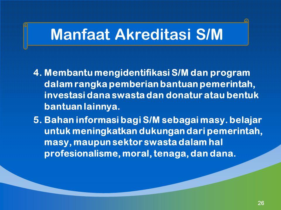 4. Membantu mengidentifikasi S/M dan program dalam rangka pemberian bantuan pemerintah, investasi dana swasta dan donatur atau bentuk bantuan lainnya.