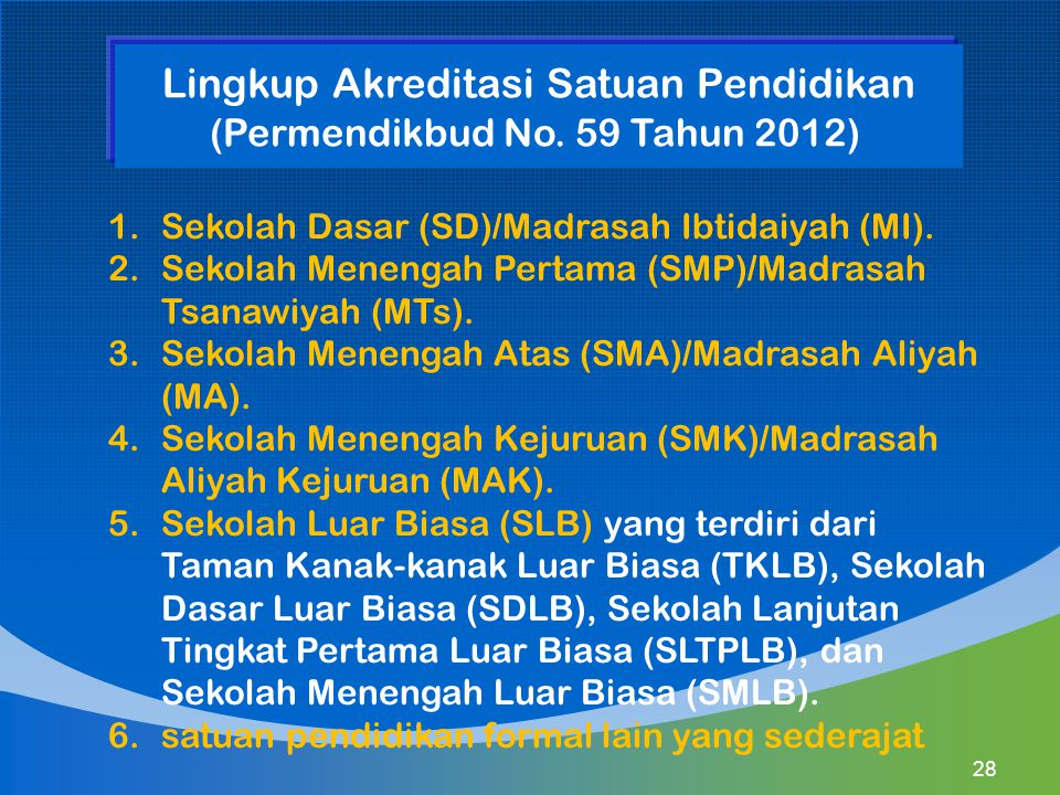 1.Sekolah Dasar (SD)/Madrasah Ibtidaiyah (MI). 2.Sekolah Menengah Pertama (SMP)/Madrasah Tsanawiyah (MTs). 3.Sekolah Menengah Atas (SMA)/Madrasah Aliy