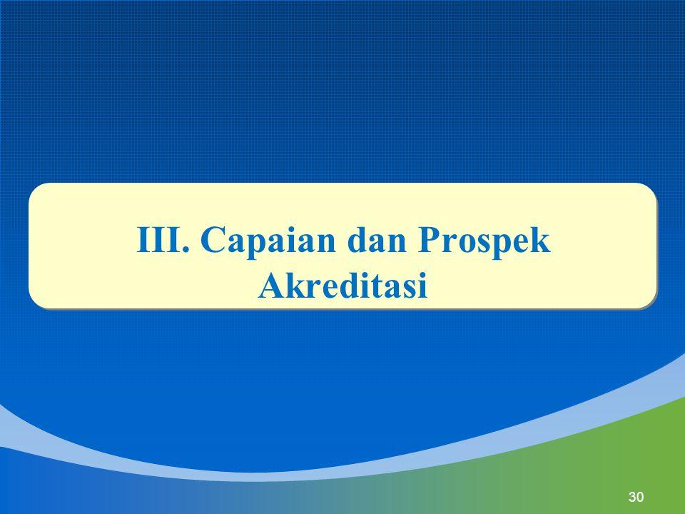 III. Capaian dan Prospek Akreditasi 30