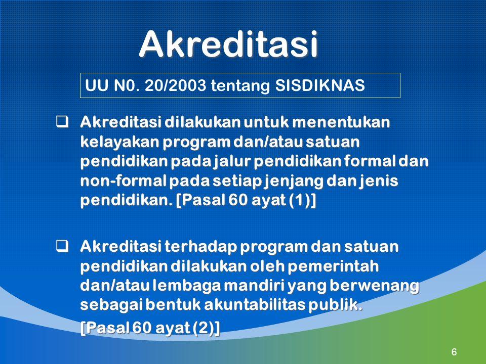 1.Merumuskan kebijakan operasional 2.Melakukan sosialisasi kebijakan 3.Melaksanakan akreditasi sekolah/madrasah (Permendikbud No.