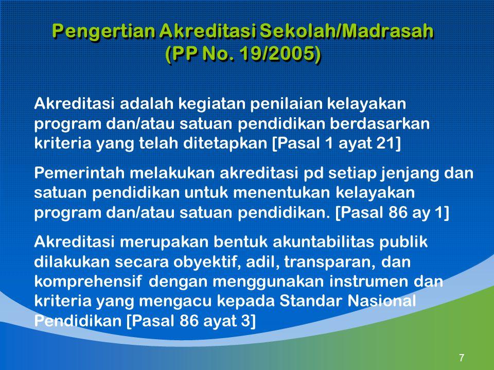 Pengertian Akreditasi Sekolah/Madrasah (PP No. 19/2005) Akreditasi adalah kegiatan penilaian kelayakan program dan/atau satuan pendidikan berdasarkan