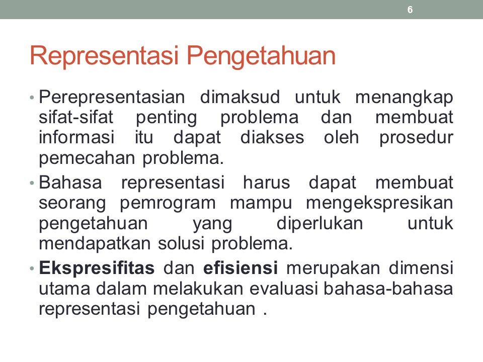 Representasi Pengetahuan Perepresentasian dimaksud untuk menangkap sifat-sifat penting problema dan membuat informasi itu dapat diakses oleh prosedur