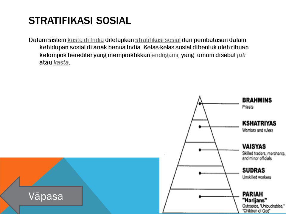 STRATIFIKASI SOSIAL Dalam sistem kasta di India ditetapkan stratifikasi sosial dan pembatasan dalam kehidupan sosial di anak benua India. Kelas-kelas