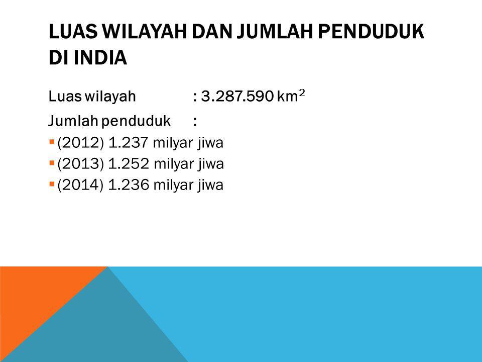 LUAS WILAYAH DAN JUMLAH PENDUDUK DI INDIA Luas wilayah: 3.287.590 km 2 Jumlah penduduk:  (2012) 1.237 milyar jiwa  (2013) 1.252 milyar jiwa  (2014)