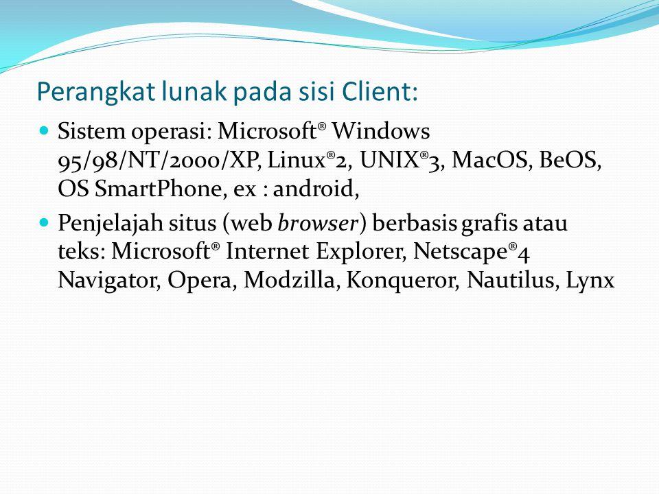 Perangkat lunak pada sisi Client: Sistem operasi: Microsoft® Windows 95/98/NT/2000/XP, Linux®2, UNIX®3, MacOS, BeOS, OS SmartPhone, ex : android, Penjelajah situs (web browser) berbasis grafis atau teks: Microsoft® Internet Explorer, Netscape®4 Navigator, Opera, Modzilla, Konqueror, Nautilus, Lynx