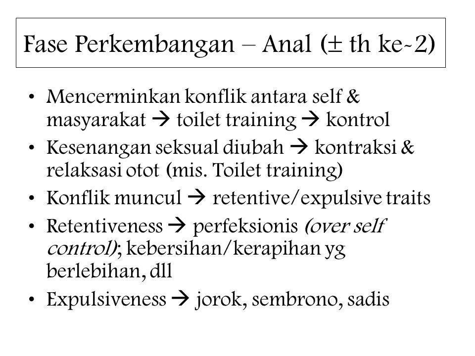 Fase Perkembangan – Anal (  th ke-2) Mencerminkan konflik antara self & masyarakat  toilet training  kontrol Kesenangan seksual diubah  kontraksi & relaksasi otot (mis.