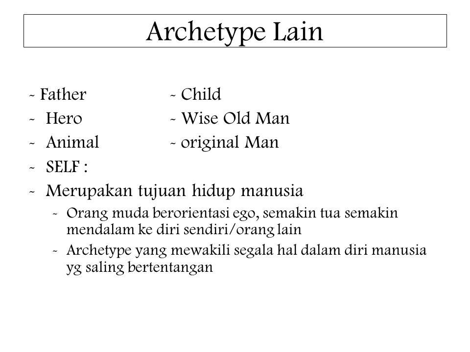 Archetype Lain - Father- Child -Hero- Wise Old Man -Animal- original Man -SELF : -Merupakan tujuan hidup manusia -Orang muda berorientasi ego, semakin tua semakin mendalam ke diri sendiri/orang lain -Archetype yang mewakili segala hal dalam diri manusia yg saling bertentangan