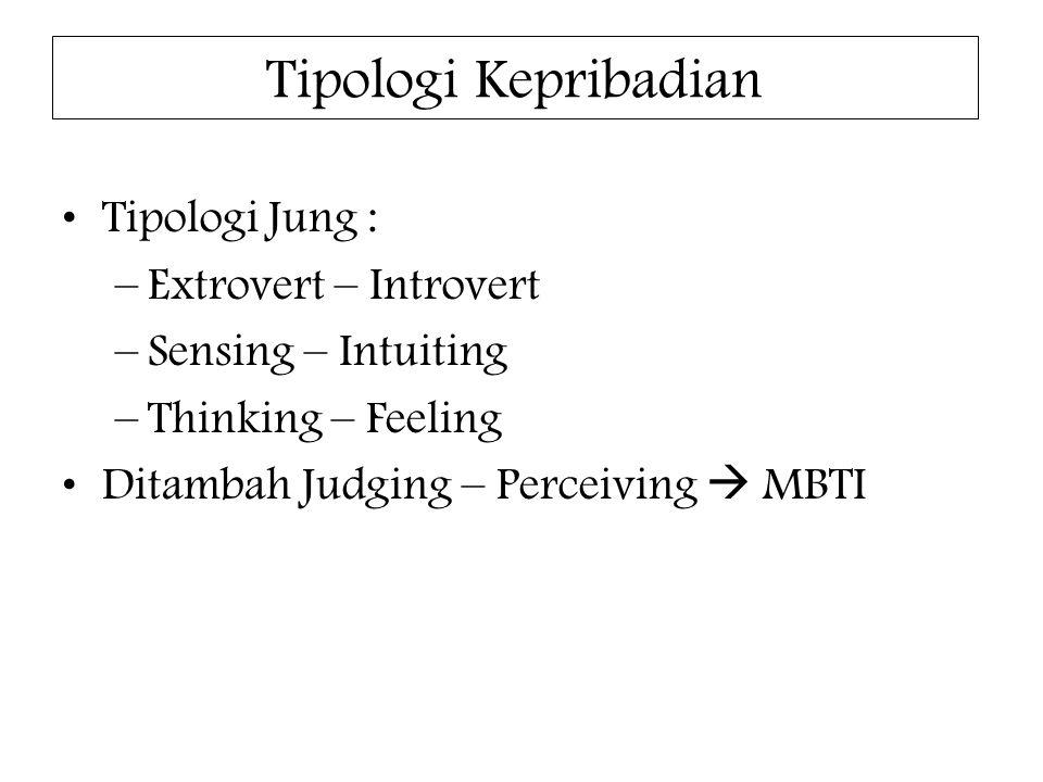 Tipologi Kepribadian Tipologi Jung : –Extrovert – Introvert –Sensing – Intuiting –Thinking – Feeling Ditambah Judging – Perceiving  MBTI