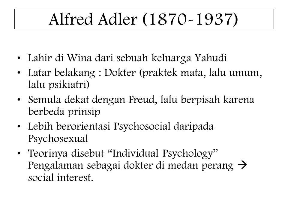 Alfred Adler (1870-1937) Lahir di Wina dari sebuah keluarga Yahudi Latar belakang : Dokter (praktek mata, lalu umum, lalu psikiatri) Semula dekat dengan Freud, lalu berpisah karena berbeda prinsip Lebih berorientasi Psychosocial daripada Psychosexual Teorinya disebut Individual Psychology Pengalaman sebagai dokter di medan perang  social interest.