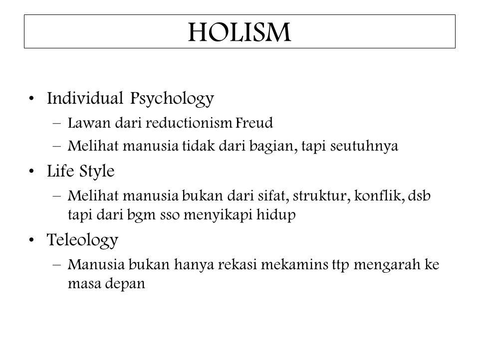 HOLISM Individual Psychology –Lawan dari reductionism Freud –Melihat manusia tidak dari bagian, tapi seutuhnya Life Style –Melihat manusia bukan dari sifat, struktur, konflik, dsb tapi dari bgm sso menyikapi hidup Teleology –Manusia bukan hanya rekasi mekamins ttp mengarah ke masa depan