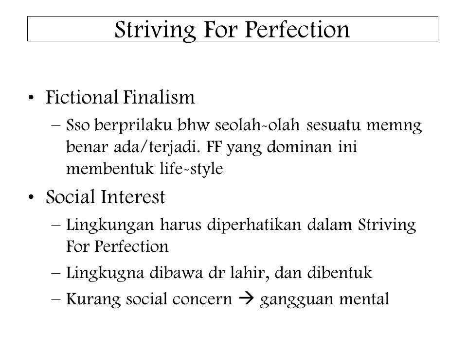Striving For Perfection Fictional Finalism –Sso berprilaku bhw seolah-olah sesuatu memng benar ada/terjadi.