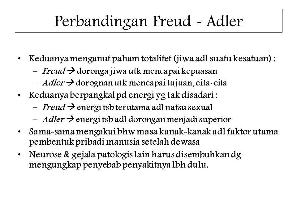 Perbandingan Freud - Adler Keduanya menganut paham totalitet (jiwa adl suatu kesatuan) : –Freud  doronga jiwa utk mencapai kepuasan –Adler  dorognan utk mencapai tujuan, cita-cita Keduanya berpangkal pd energi yg tak disadari : –Freud  energi tsb terutama adl nafsu sexual –Adler  energi tsb adl dorongan menjadi superior Sama-sama mengakui bhw masa kanak-kanak adl faktor utama pembentuk pribadi manusia setelah dewasa Neurose & gejala patologis lain harus disembuhkan dg mengungkap penyebab penyakitnya lbh dulu.