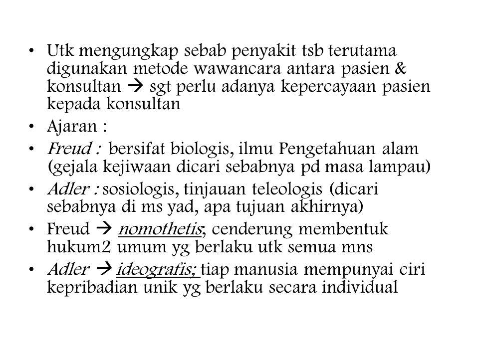 Utk mengungkap sebab penyakit tsb terutama digunakan metode wawancara antara pasien & konsultan  sgt perlu adanya kepercayaan pasien kepada konsultan Ajaran : Freud : bersifat biologis, ilmu Pengetahuan alam (gejala kejiwaan dicari sebabnya pd masa lampau) Adler : sosiologis, tinjauan teleologis (dicari sebabnya di ms yad, apa tujuan akhirnya) Freud  nomothetis; cenderung membentuk hukum2 umum yg berlaku utk semua mns Adler  ideografis; tiap manusia mempunyai ciri kepribadian unik yg berlaku secara individual