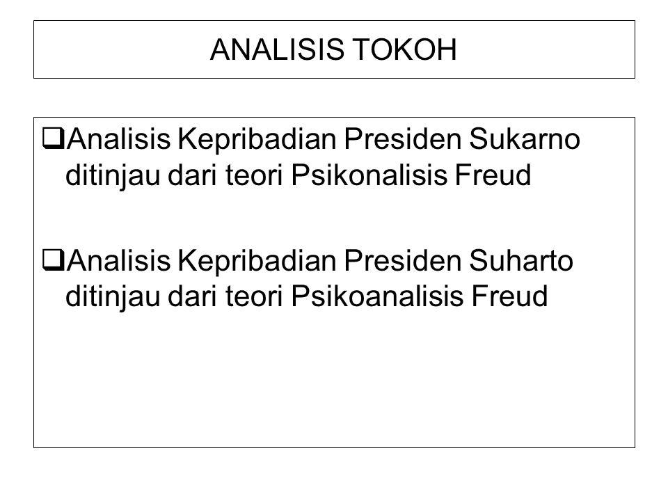 ANALISIS TOKOH  Analisis Kepribadian Presiden Sukarno ditinjau dari teori Psikonalisis Freud  Analisis Kepribadian Presiden Suharto ditinjau dari teori Psikoanalisis Freud
