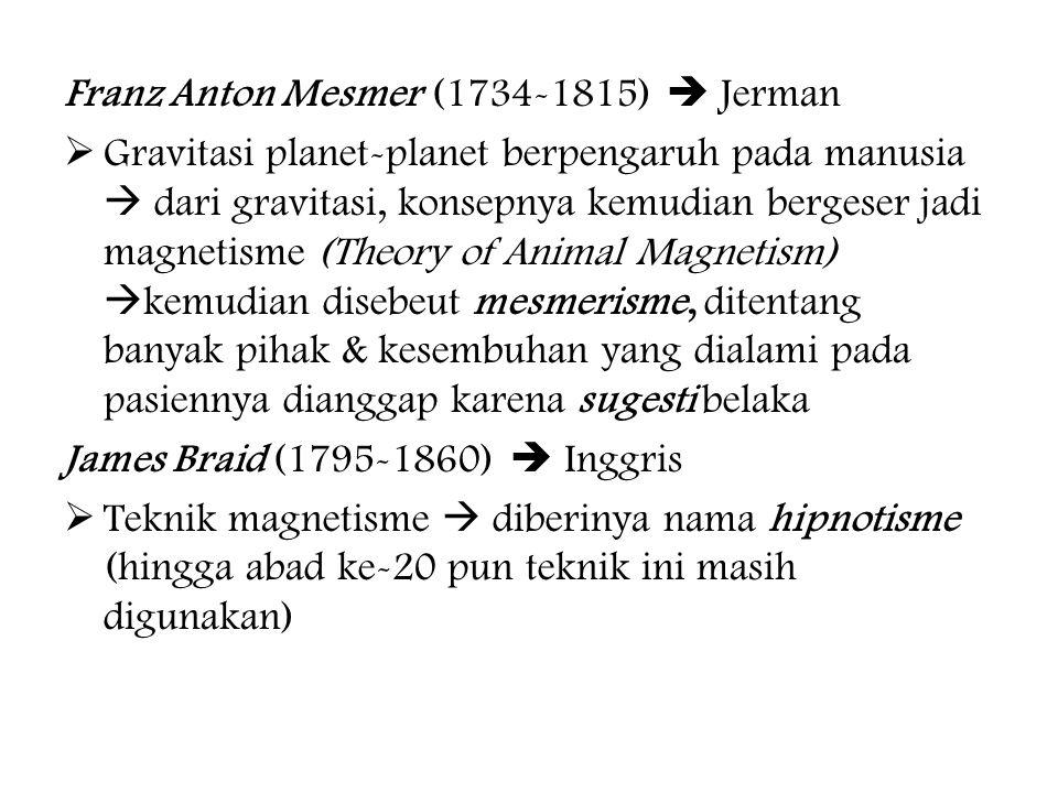 Franz Anton Mesmer (1734-1815)  Jerman  Gravitasi planet-planet berpengaruh pada manusia  dari gravitasi, konsepnya kemudian bergeser jadi magnetisme (Theory of Animal Magnetism)  kemudian disebeut mesmerisme, ditentang banyak pihak & kesembuhan yang dialami pada pasiennya dianggap karena sugesti belaka James Braid (1795-1860)  Inggris  Teknik magnetisme  diberinya nama hipnotisme (hingga abad ke-20 pun teknik ini masih digunakan)