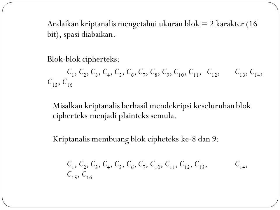Andaikan kriptanalis mengetahui ukuran blok = 2 karakter (16 bit), spasi diabaikan. Blok-blok cipherteks: C 1, C 2, C 3, C 4, C 5, C 6, C 7, C 8, C 9,