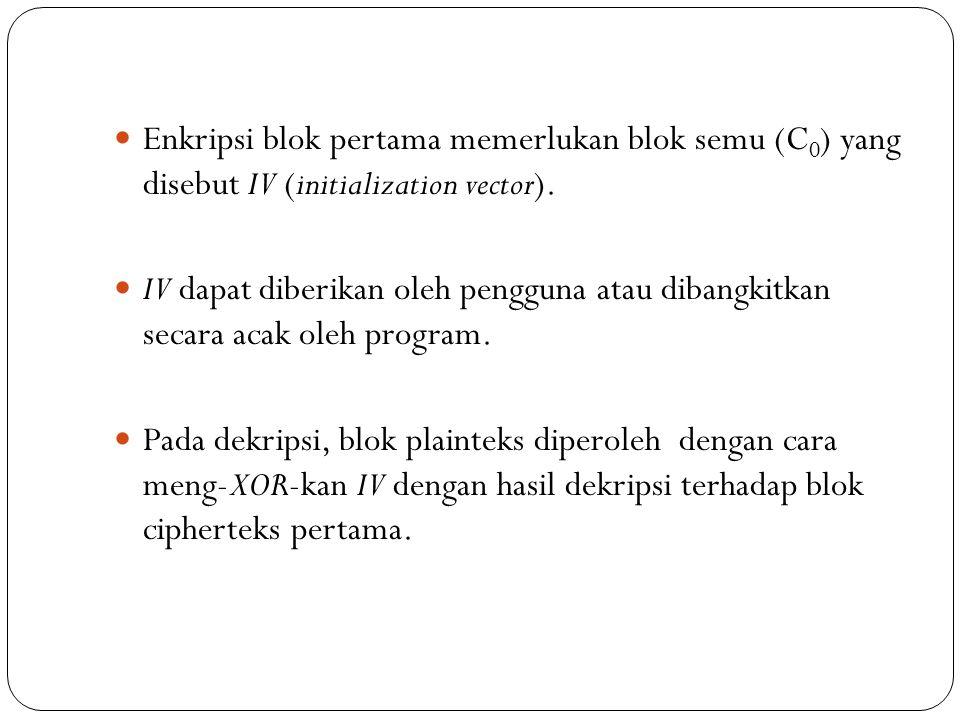 Enkripsi blok pertama memerlukan blok semu (C 0 ) yang disebut IV (initialization vector). IV dapat diberikan oleh pengguna atau dibangkitkan secara a