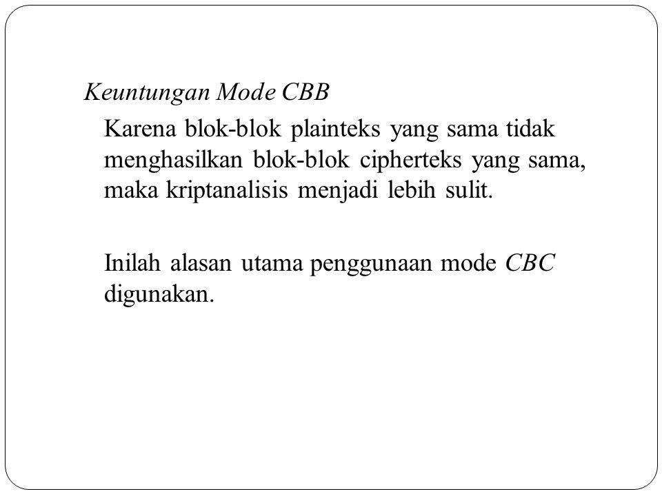 Keuntungan Mode CBB Karena blok-blok plainteks yang sama tidak menghasilkan blok-blok cipherteks yang sama, maka kriptanalisis menjadi lebih sulit. In