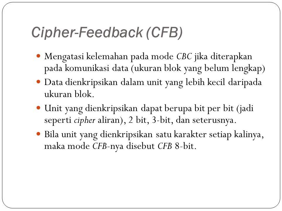 Cipher-Feedback (CFB) Mengatasi kelemahan pada mode CBC jika diterapkan pada komunikasi data (ukuran blok yang belum lengkap) Data dienkripsikan dalam