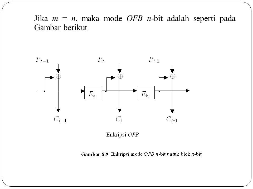 Jika m = n, maka mode OFB n-bit adalah seperti pada Gambar berikut