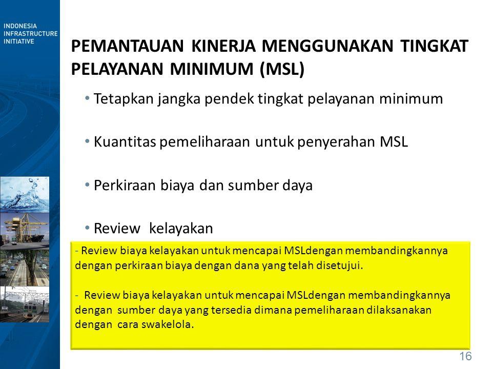 16 PEMANTAUAN KINERJA MENGGUNAKAN TINGKAT PELAYANAN MINIMUM (MSL) Tetapkan jangka pendek tingkat pelayanan minimum Kuantitas pemeliharaan untuk penyer