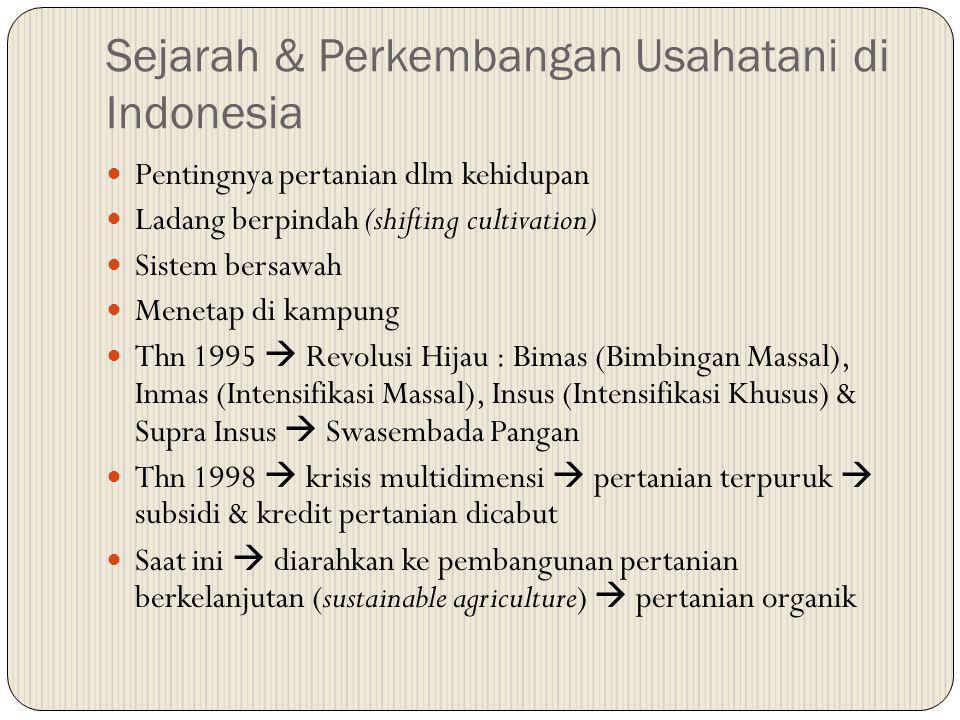 Sejarah & Perkembangan Usahatani di Indonesia Pentingnya pertanian dlm kehidupan Ladang berpindah (shifting cultivation) Sistem bersawah Menetap di ka