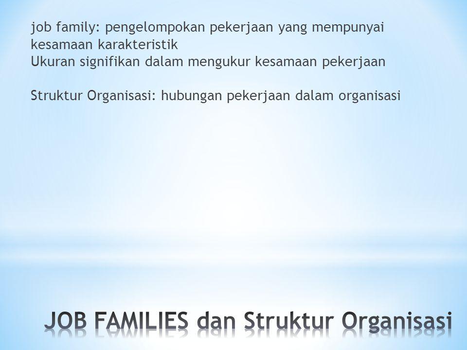 job family: pengelompokan pekerjaan yang mempunyai kesamaan karakteristik Ukuran signifikan dalam mengukur kesamaan pekerjaan Struktur Organisasi: hubungan pekerjaan dalam organisasi