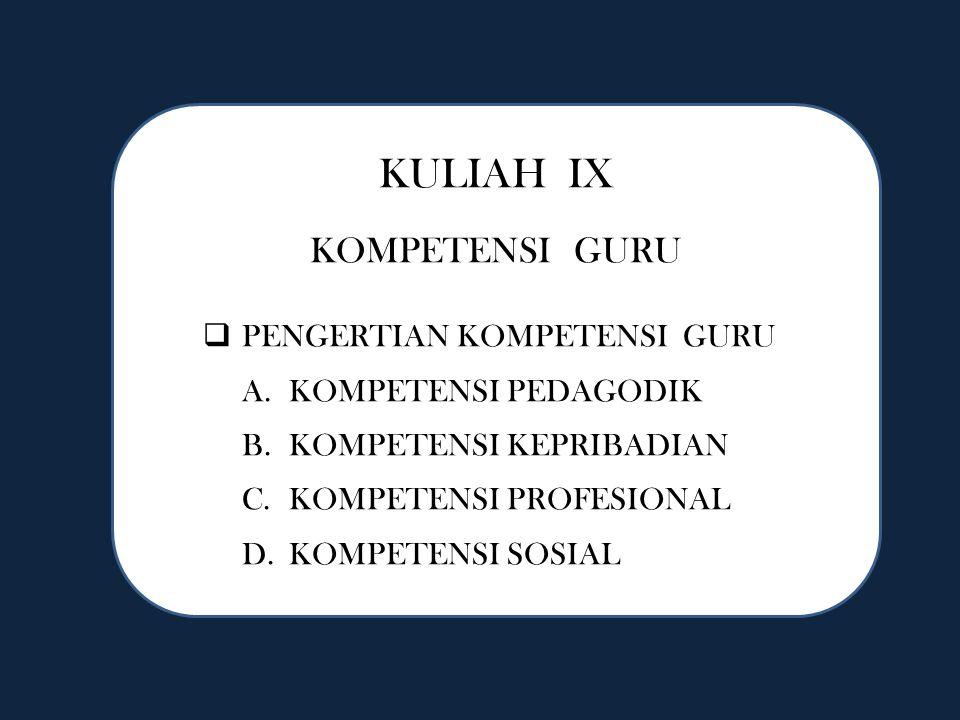 KULIAH IX KOMPETENSI GURU  PENGERTIAN KOMPETENSI GURU A.KOMPETENSI PEDAGODIK B.KOMPETENSI KEPRIBADIAN C.KOMPETENSI PROFESIONAL D.KOMPETENSI SOSIAL