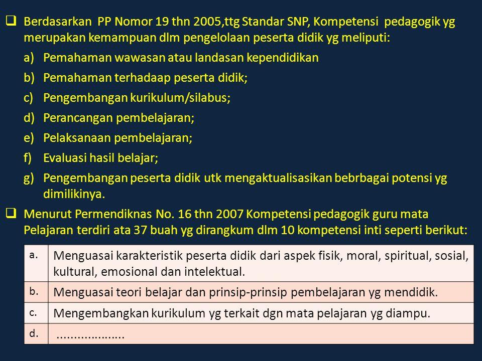  Berdasarkan PP Nomor 19 thn 2005,ttg Standar SNP, Kompetensi pedagogik yg merupakan kemampuan dlm pengelolaan peserta didik yg meliputi: a)Pemahaman