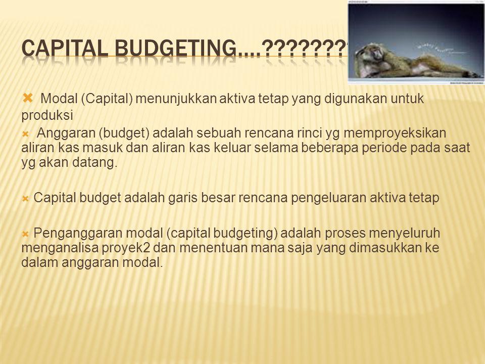  Modal (Capital) menunjukkan aktiva tetap yang digunakan untuk produksi  Anggaran (budget) adalah sebuah rencana rinci yg memproyeksikan aliran kas masuk dan aliran kas keluar selama beberapa periode pada saat yg akan datang.