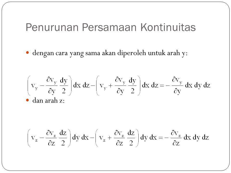 Penurunan Persamaan Kontinuitas dengan cara yang sama akan diperoleh untuk arah y: dan arah z: