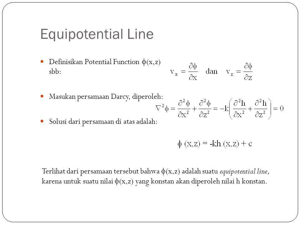 Equipotential Line Definisikan Potential Function  (x,z) sbb: Masukan persamaan Darcy, diperoleh: Solusi dari persamaan di atas adalah: Terlihat dari persamaan tersebut bahwa  (x,z) adalah suatu equipotential line, karena untuk suatu nilai  (x,z) yang konstan akan diperoleh nilai h konstan.