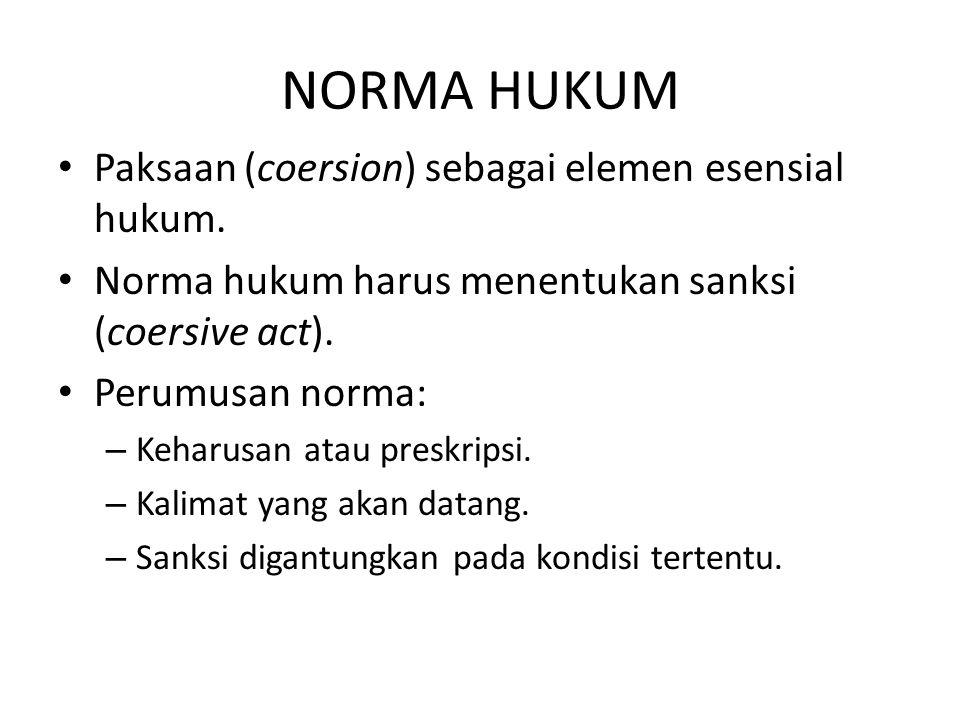 NORMA HUKUM Paksaan (coersion) sebagai elemen esensial hukum. Norma hukum harus menentukan sanksi (coersive act). Perumusan norma: – Keharusan atau pr