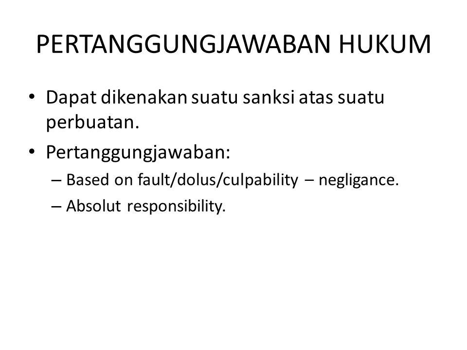 PERTANGGUNGJAWABAN HUKUM Dapat dikenakan suatu sanksi atas suatu perbuatan. Pertanggungjawaban: – Based on fault/dolus/culpability – negligance. – Abs