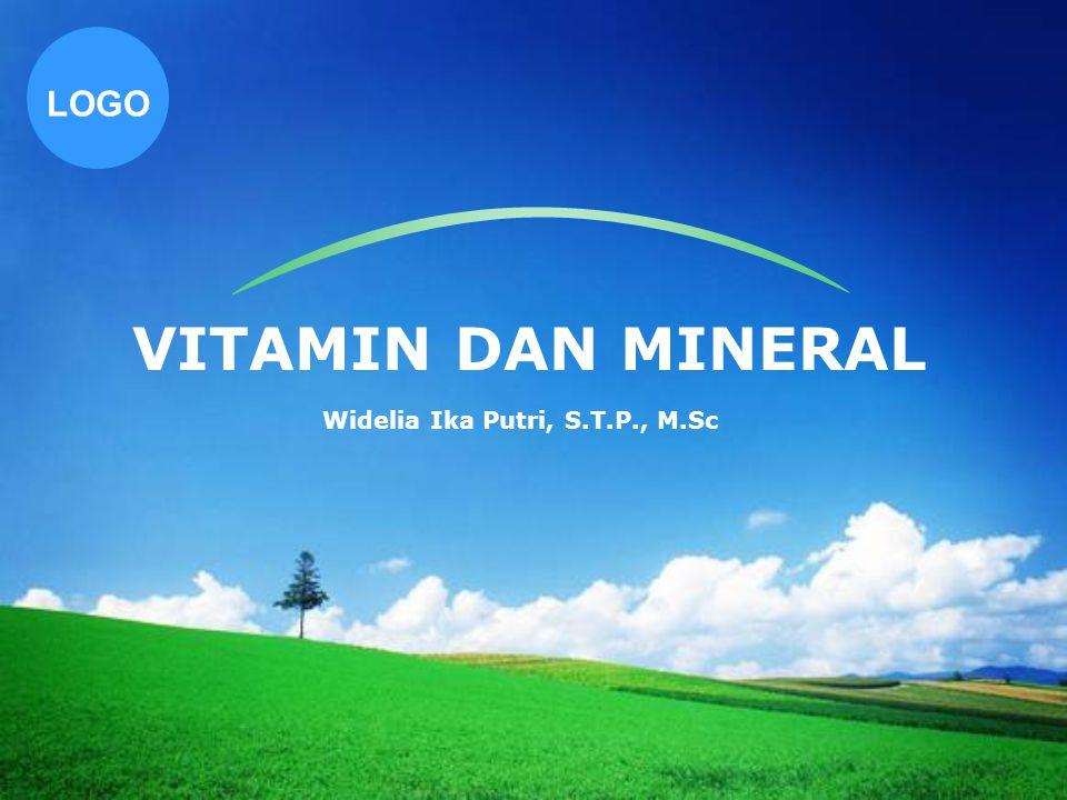 www.themegallery.com Company Logo Vitamin - Zat organik kompleks yang dibutuhkan dalam jumlah sangat kecil - Pada umumnya tidak dapat dibentuk oleh tubuh - Zat pengatur pertumbuhan dan pemeliharaan kehidupan - Mempunyai tugas spesifik dalam tubuh