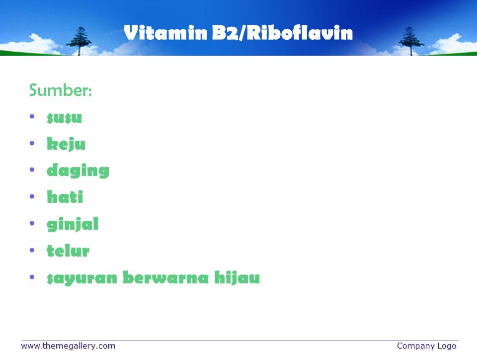 Vitamin B2/Riboflavin Sumber: susu keju daging hati ginjal telur sayuran berwarna hijau www.themegallery.com Company Logo