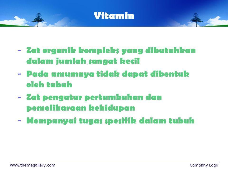 www.themegallery.com Company Logo Jenis Vitamin Vitamin larut lemak (Vit.