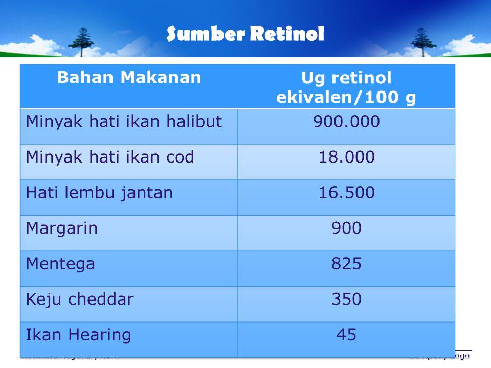Sumber Karotena www.themegallery.com Company Logo Bahan MakananUg retinol ekivalen/100 g Wortel2.000 Bayam1.000 Watercress500 Apricots250 Tomat100 Kubis50 Kapri50