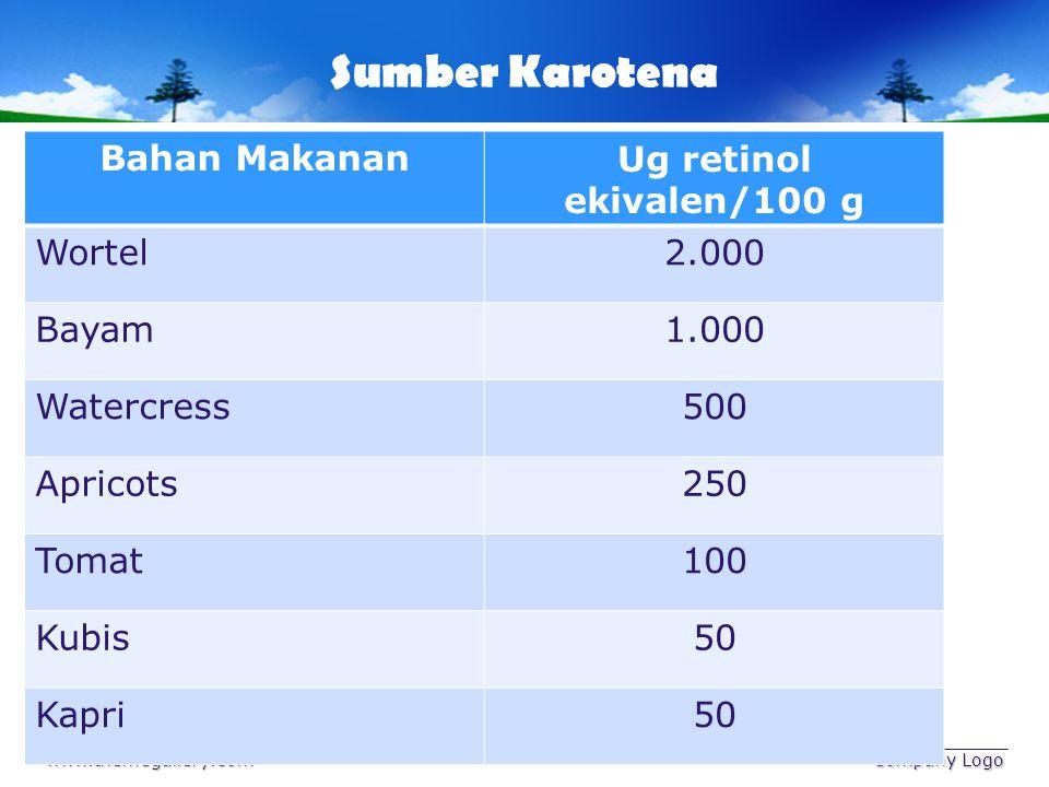 Sumber Karotena www.themegallery.com Company Logo Bahan MakananUg retinol ekivalen/100 g Wortel2.000 Bayam1.000 Watercress500 Apricots250 Tomat100 Kub