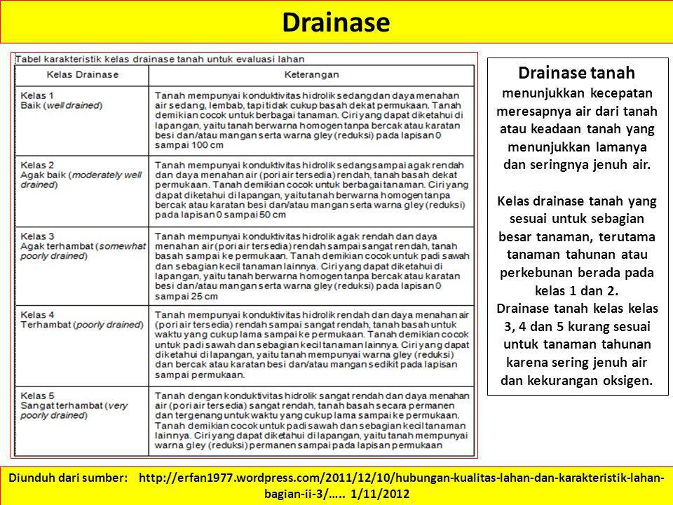 Drainase Drainase tanah menunjukkan kecepatan meresapnya air dari tanah atau keadaan tanah yang menunjukkan lamanya dan seringnya jenuh air. Kelas dra