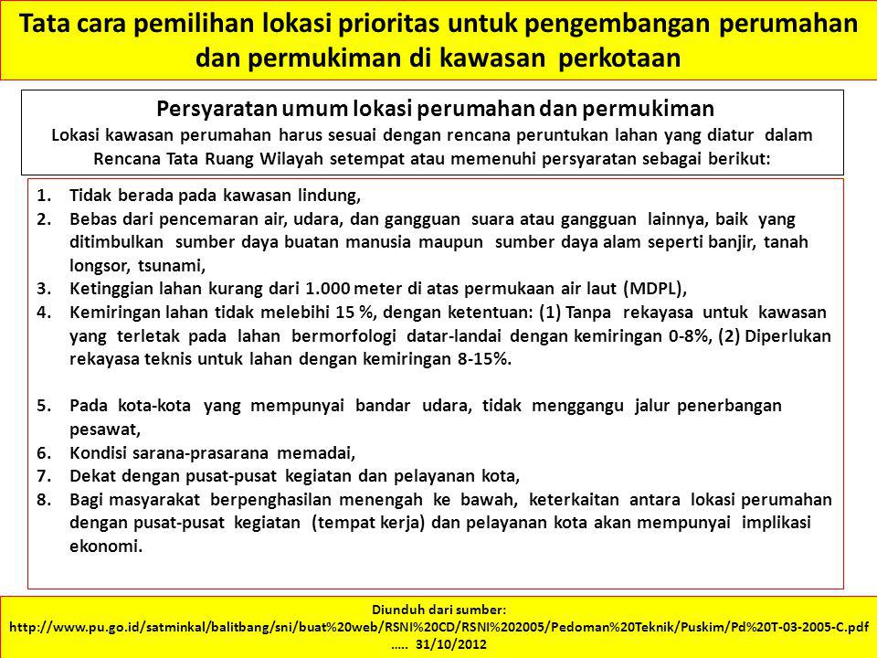 Tata cara pemilihan lokasi prioritas untuk pengembangan perumahan dan permukiman di kawasan perkotaan Diunduh dari sumber: http://www.pu.go.id/satmink